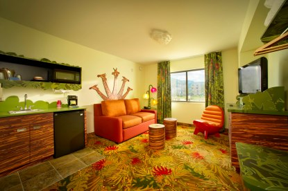 """Guests at Disney's Art of Animation Resort can relax on leaf-shaped chairs or kick back with the wild residents of the Pride Lands in new """"The Lion King"""" themed family suites. The new Lion King wing, opening Aug. 10, showcases Simba, Zazu and other familiar faces in public spaces and guestrooms that reflect playful and poignant scenes from the Academy Award-winning animated film. Disney's Art of Animation Resort is located at Walt Disney World Resort in Lake Buena Vista, Fla. (Kent Phillips, photographer)"""